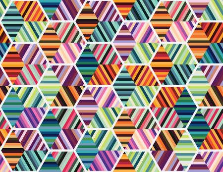 Motivo geometrico senza soluzione di continuità con forme colorate Vettoriali