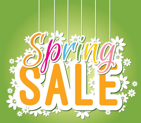 Colourful spring sale banner for prints, leaflets, flayers, websites, emails, posters and price tags