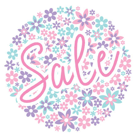 Sale graphic with delicate flowers in background for leaflets, prints, websites, posters, emails, price tags, adverts
