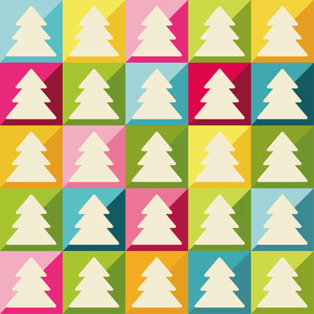 Seamless colorful Christmas background with trees
