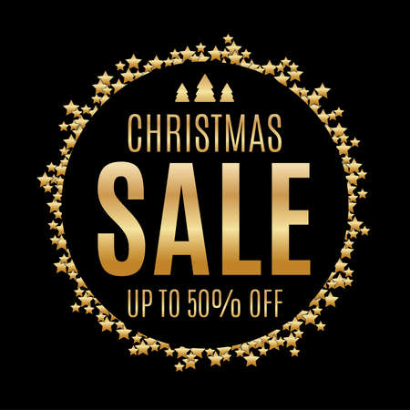 Black and gold Christmas sale background