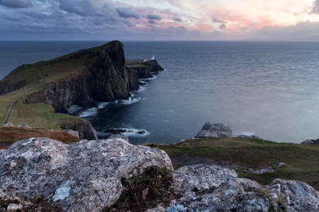 Neist Point lighthouse at sundown