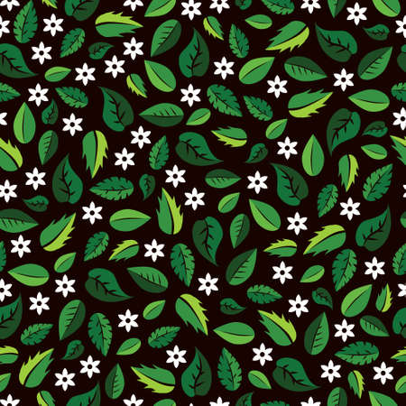 Colorful pattern with green leaves and white flowers Vettoriali
