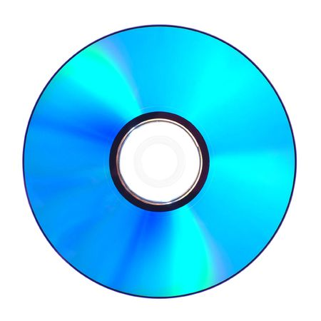 rayon bleu: Photo d'un Blue Ray Disc. Isol� sur fond blanc.