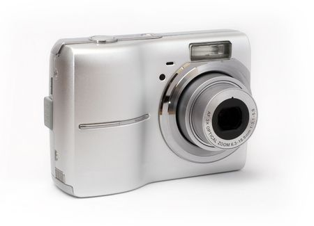 digicam: Point and shoot camera isolated on white background.