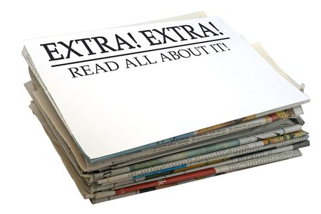 printing out: Paper stack. Top file showing Extra Extra, read all about it.