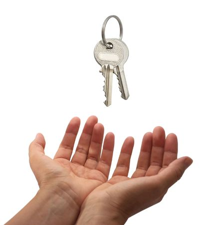 handover: Key handover. Isolated on a white background.