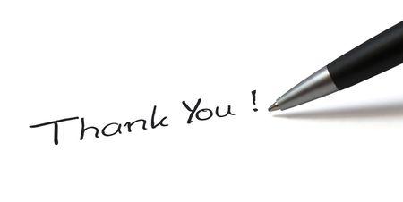ballpen: Ballpen on white background. Showing Thank You! Stock Photo