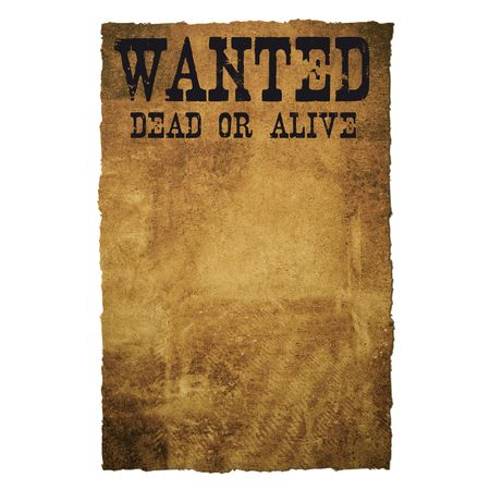 Old and grungy paper showing WANTED DEAD OR ALIVE Stock Photo