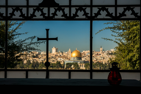 mount of olives: A view of the Temple Mount from the monastery to the Mountain of Olives