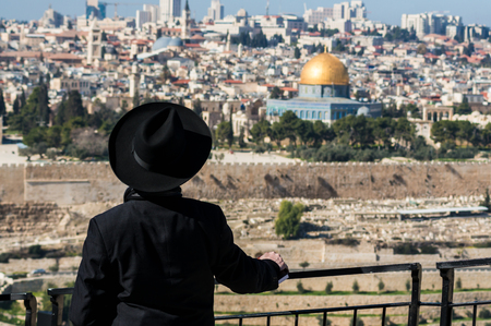 hasid: Hasid looks at the Temple Mount from Mount Olive