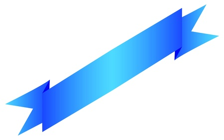 Blank blue diagonal ribbon. Ideal for web design or banners.