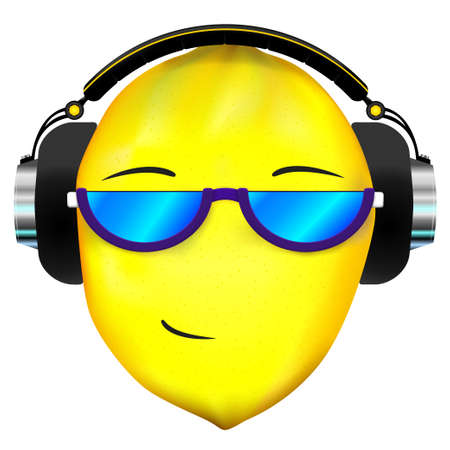 frutas divertidas: Cara de lim�n en los auriculares Vectores