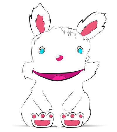 Smiling rabbit drawn by hand Vector