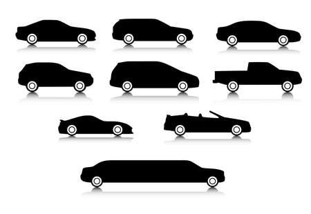 Silhouetten van verschillende types van een lichaam van auto's met een schaduw