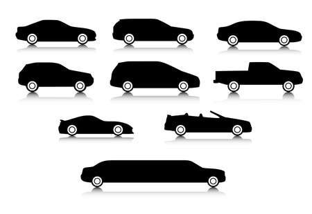 Silhouettes of different types of a body of cars with a shadow