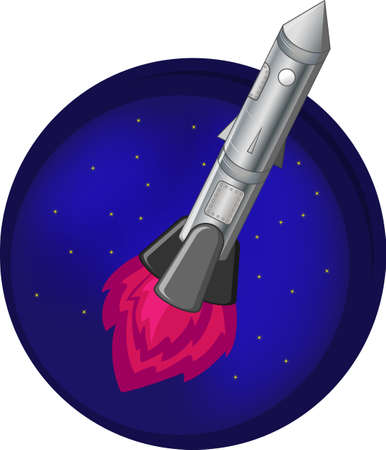 rocket in space flying on a background of the starry sky Vector