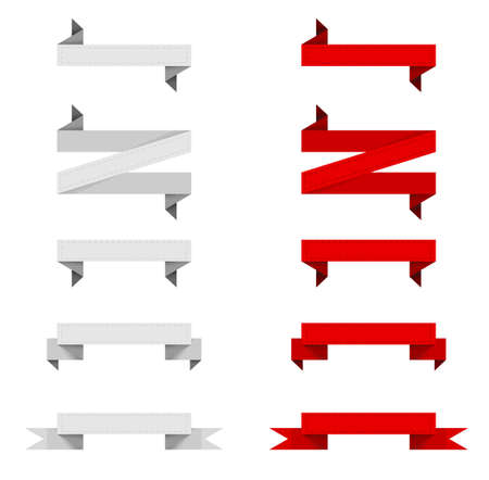 Red and gray ribbons (banners) sets with stroke Stock Vector - 15124132