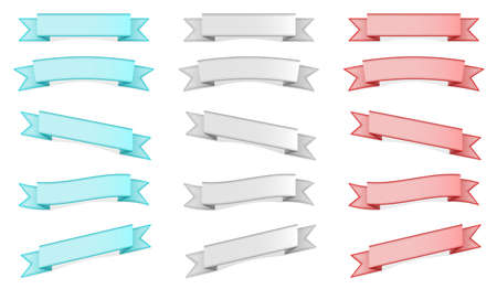 Three colors ribbons (banners) sets different form Stock Vector - 15124141