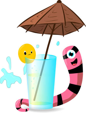 animation worm and orange about a glass with lemonade under an umbrella Illustration