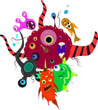 party of bright fantastic toilet monsters microbes Vector