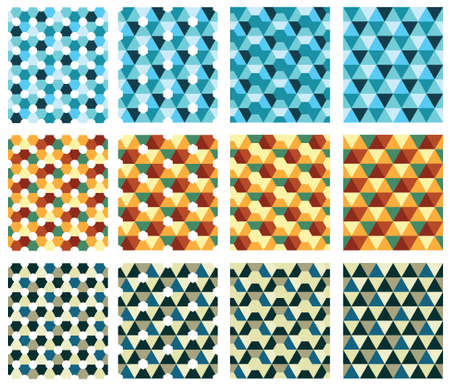 modular: Seamless textures with triangle and diamonds. Retro textures, blue, brown, yellow triangles