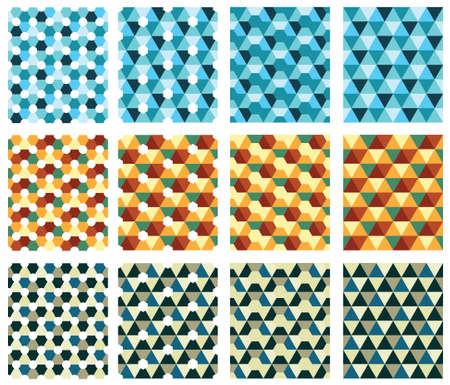Texture senza saldatura con triangolo e diamanti. Retro texture, blu, marrone, triangoli gialli Vettoriali