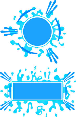 Two frames circular and rectangular shape with water splashes Illustration