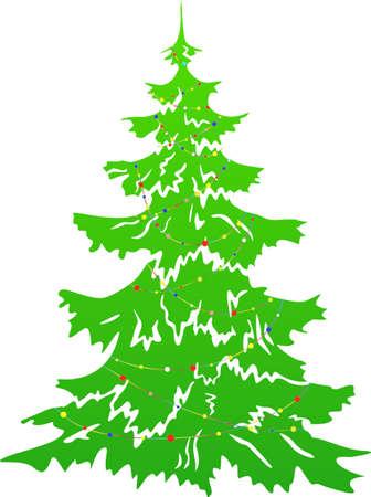 furtree: Green Christmas tree with garland. Xmas fur-tree