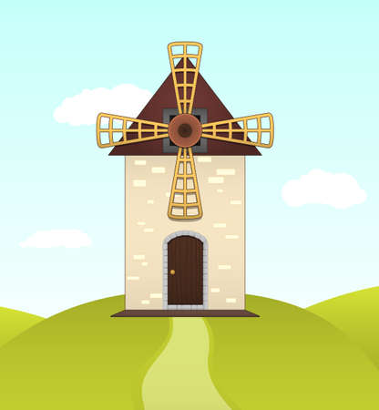 Vector illustration of summer landscape with mill on green hill Vector