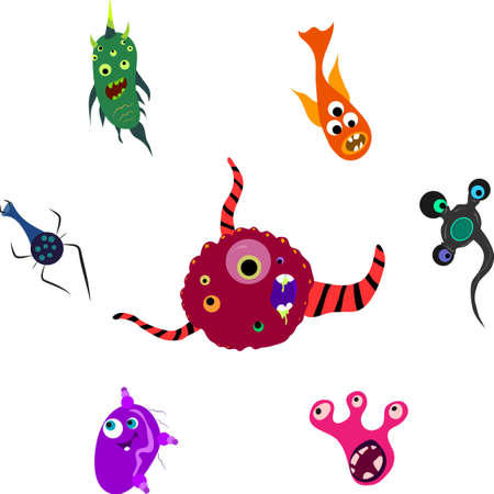 set of bright fantastic toilet monsters microbes