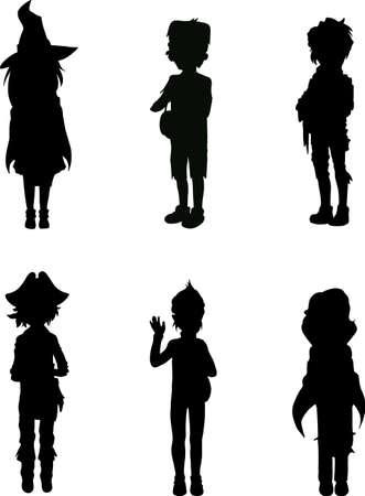 Silhouetten van kinderen in enge Halloween kostuums Stock Illustratie
