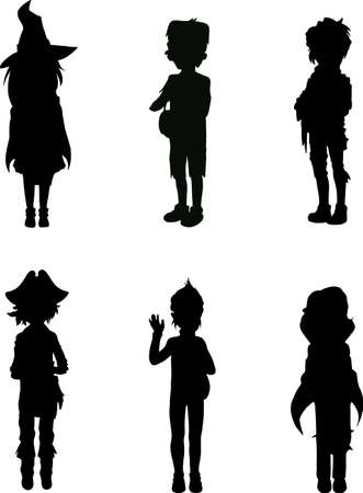 Silhouettes of kids in scary halloween suits Vector