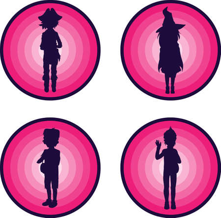 Badges with Silhouettes of kids in scary halloween suits Vector