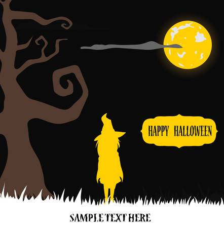 Halloween witch standing in moon light on grass Vector