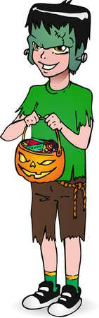 Halloween little boy frankenstein with candy  Boy in suit