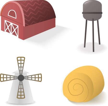 granero: objetos rurales en blanco, como las balas de granja, molino y paja