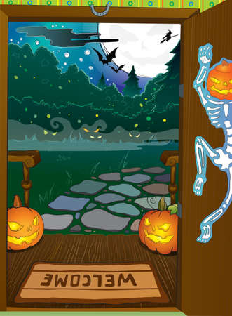 Halloween night background with pumpkins on porch and  witch silhouette Stock Vector - 15756540