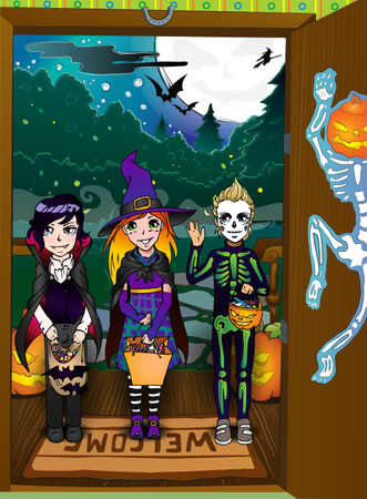 halloween skeleton: Halloween night background with pumpkins on porch and  witch silhouette Illustration