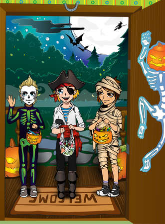 back lit: Halloween night background with pumpkins on porch and children Illustration