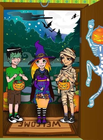 Three kids on the doorstep  Halloween tricks and treats tradition Vector