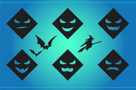 Halloween background with scary faces and silhouettes on cyan Vector