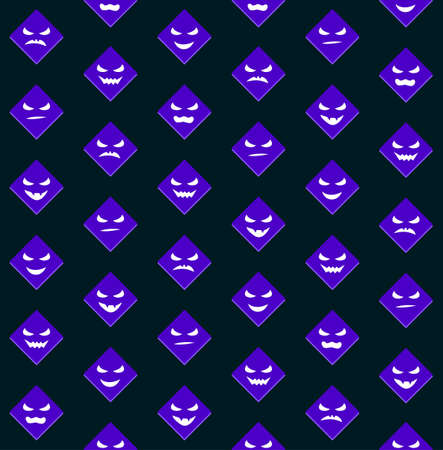 Halloween seamless background with scary faces on black Vector