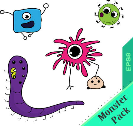 party of bright fantastic monsters microbes om white Vector