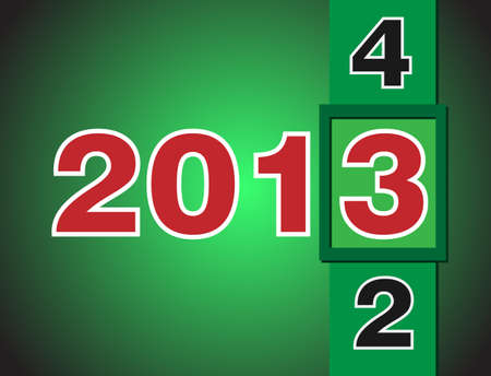 Calendar changes for 2013 year  Red numbers on green background Vector
