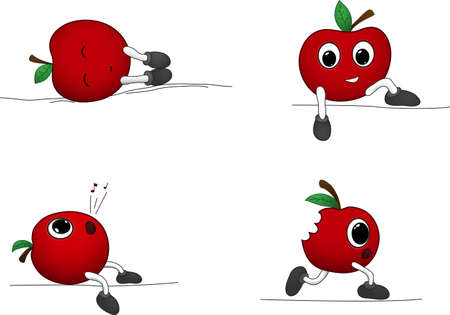 Cute cartoon apples  Sleeping, running and sitting apples  Vector