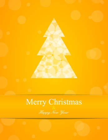 Yellow background with Cristmas tree  Label for text Stock Vector - 16281819