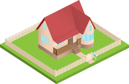 tracks live: Isometric house surrounded by lawn with fence Illustration