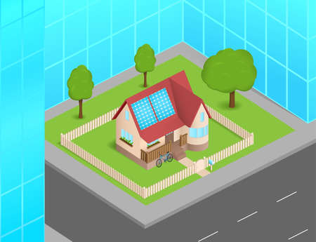 Small house with solar cells between skyscrapers Vector