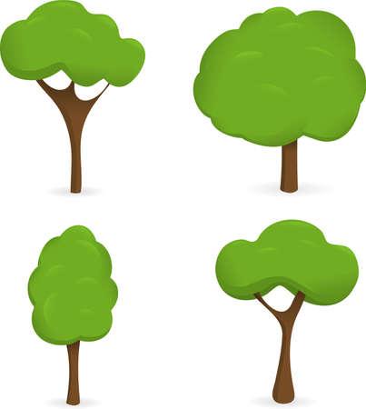 coma: Four  trees on white background Illustration